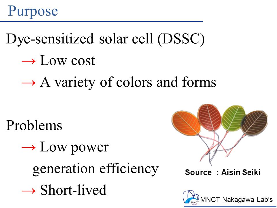MNCT Nakagawa Lab's Purpose Dye-sensitized solar cell (DSSC) → Low cost → A variety of colors and forms Problems → Low power generation efficiency → Short-lived Source : Aisin Seiki