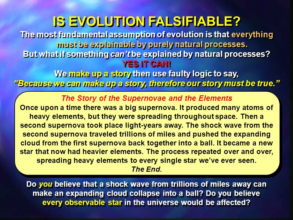 IS EVOLUTION FALSIFIABLE.