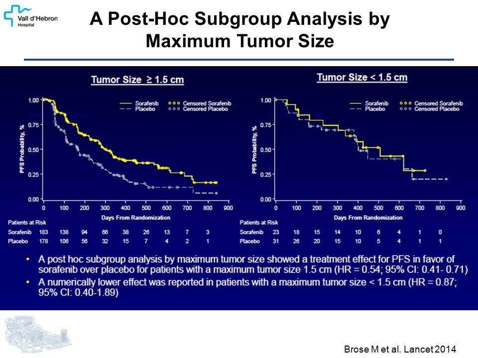 A Post-Hoc Subgroup Analysis by Maximum Tumor Size Brose M et al. Lancet 2014