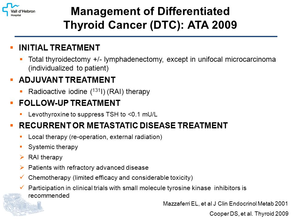  INITIAL TREATMENT  Total thyroidectomy +/- lymphadenectomy, except in unifocal microcarcinoma (individualized to patient)  ADJUVANT TREATMENT  Ra