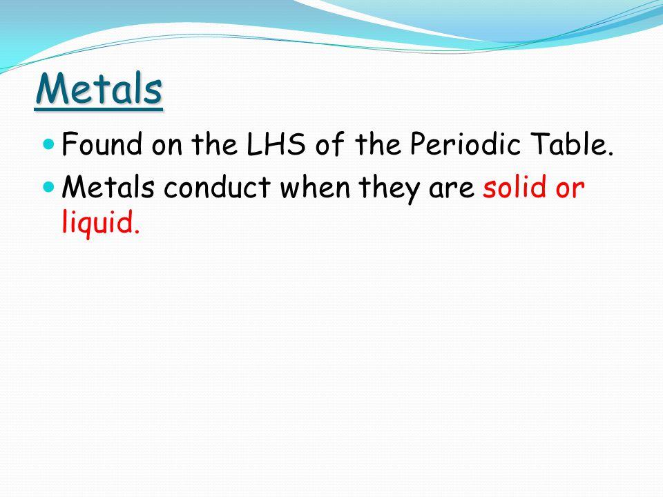 Metallic bonding Exists between metal elements only.