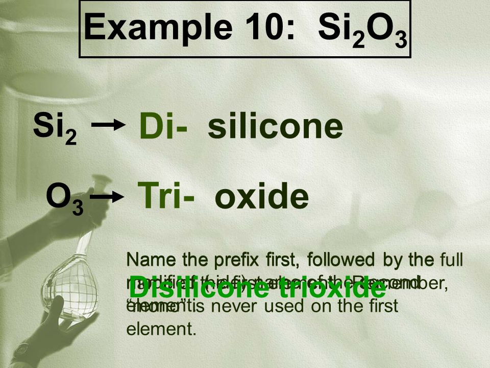 Name the prefix first, followed by the modified (-ide) name of the second element.