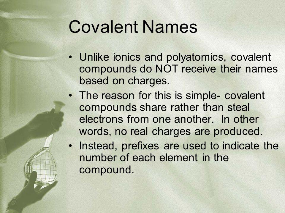 List of Covalent Prefixes 1.Mono- 2.Di- 3.Tri 4.Tetra- 5.Penta- 6.Hexa- 7.Hepta- 8.Octa- 9.Nona- 10.Deca-