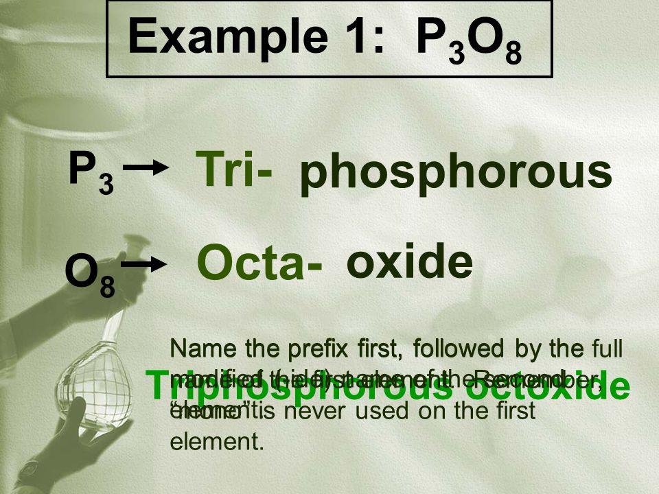 Practice on your own: 1.Carbon monoxide – 2.Tetrasulfur pentaiodide – 3.Triselenium decatelluride – 4.Diarsenic monofluoride – 5.Heptasilicon diboride – 6.Nitrogen hexaselenide – 7.Carbon tetrachloride – 8.Krypton monofluoride – 9.Heptaphosphorous octoxide- 10.Triselenium pentanitride - CO S4I5S4I5 Se 3 Te 10 As 2 F Si 7 B 2 NSe 6 CCl 4 KrF P7O8P7O8 Se 3 N 5 N A M E S  F O R M U L A S