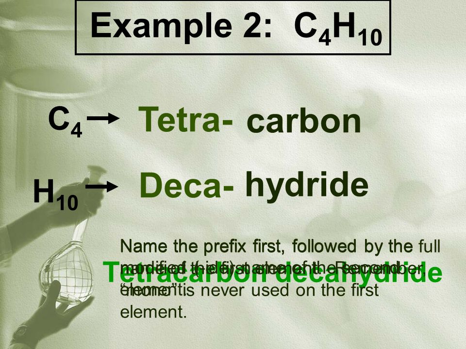 Example 3: C 2 O 4 Dicarbon tetroxide C2C2 O4O4 Di- Tetra- carbon oxide Name the prefix first, followed by the full name of the first element.