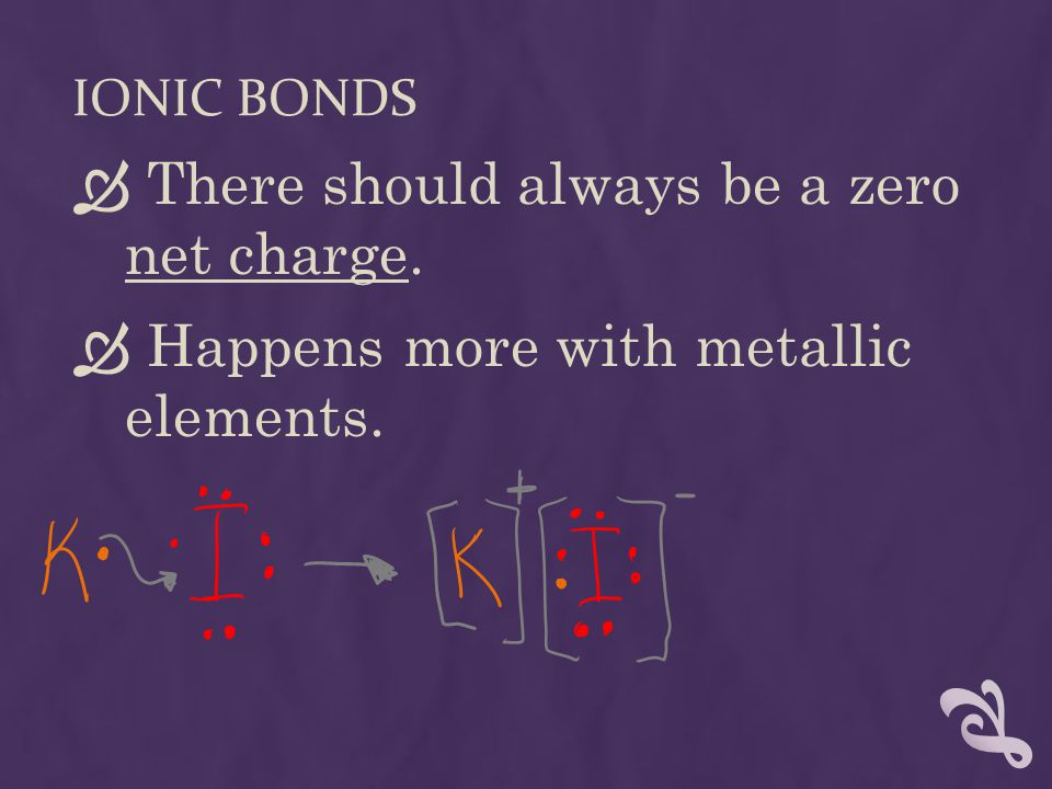 IONIC BONDS  There should always be a zero net charge.  Happens more with metallic elements.