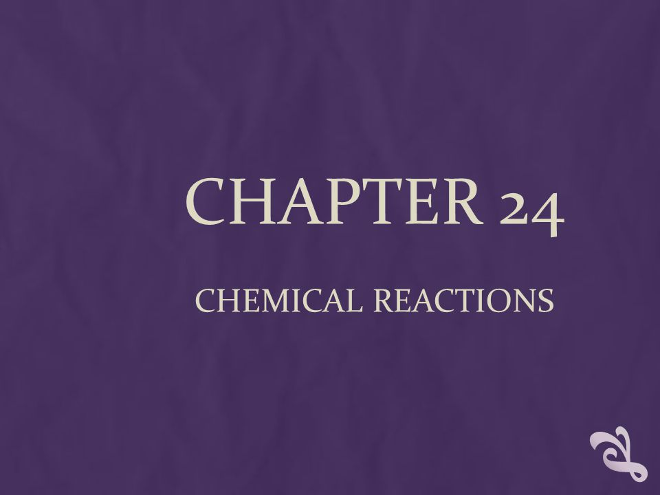 CHAPTER 24 CHEMICAL REACTIONS