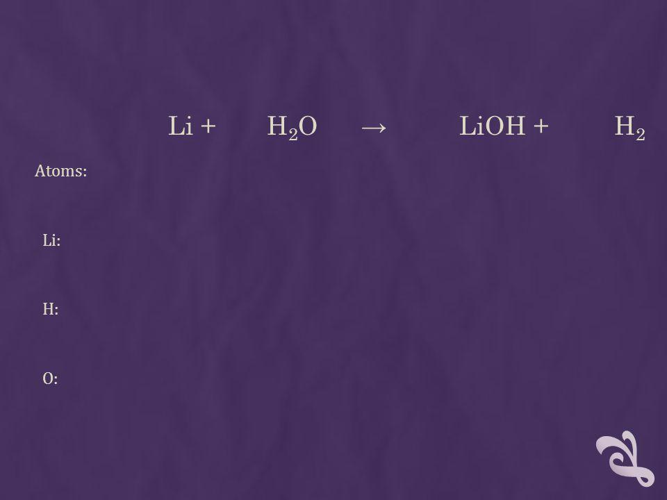 Li + H 2 O → LiOH + H 2 Atoms: Li: H: O: