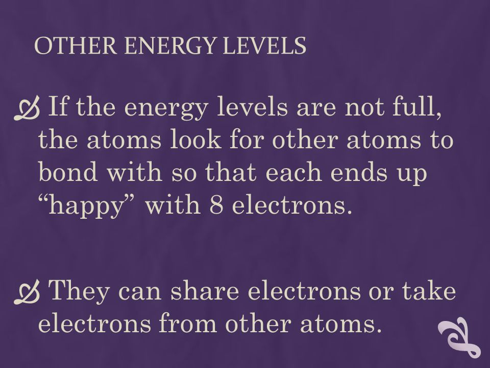 OTHER ENERGY LEVELS  If the energy levels are not full, the atoms look for other atoms to bond with so that each ends up happy with 8 electrons.