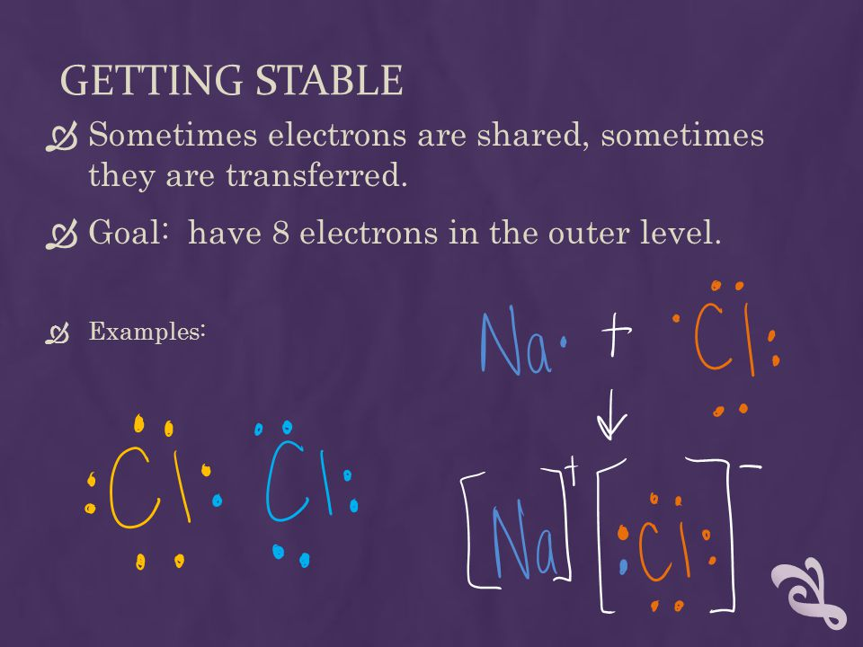 GETTING STABLE  Sometimes electrons are shared, sometimes they are transferred.