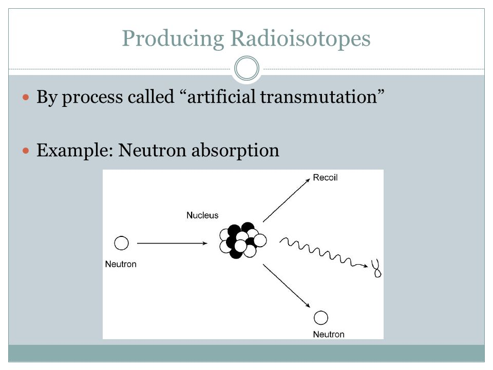 Producing Radioisotopes By process called artificial transmutation Example: Neutron absorption