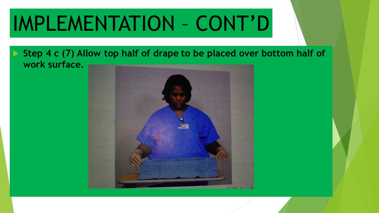 IMPLEMENTATION – CONT'D  Step 4 c (7) Allow top half of drape to be placed over bottom half of work surface.