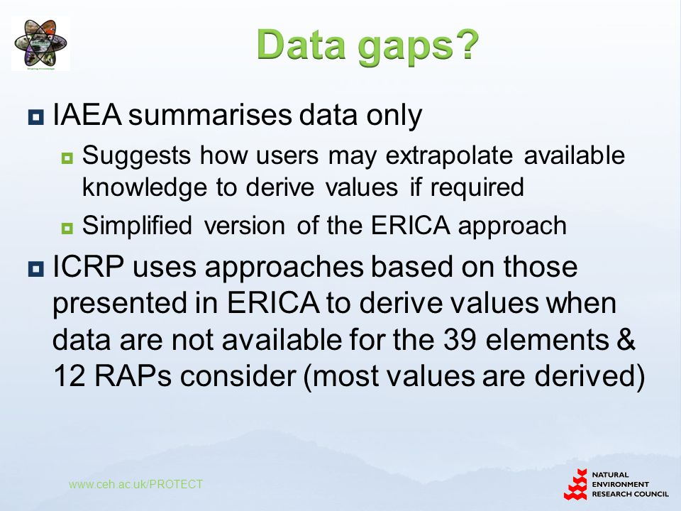  IAEA summarises data only  Suggests how users may extrapolate available knowledge to derive values if required  Simplified version of the ERICA ap
