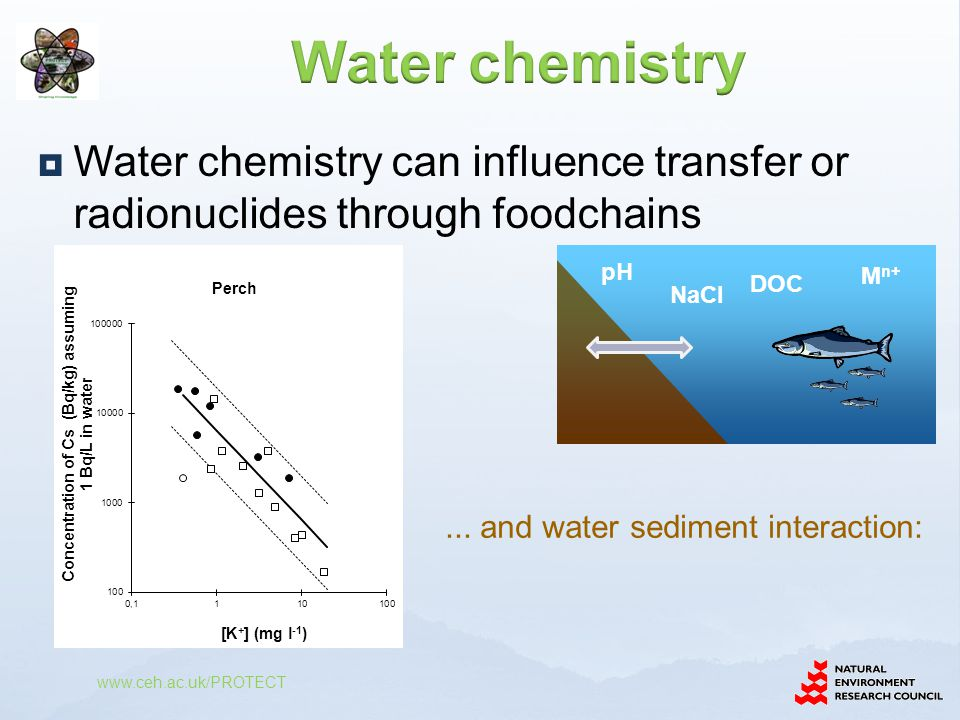  Input water and sediment concentrations  Biota concentration estimated as water conc.
