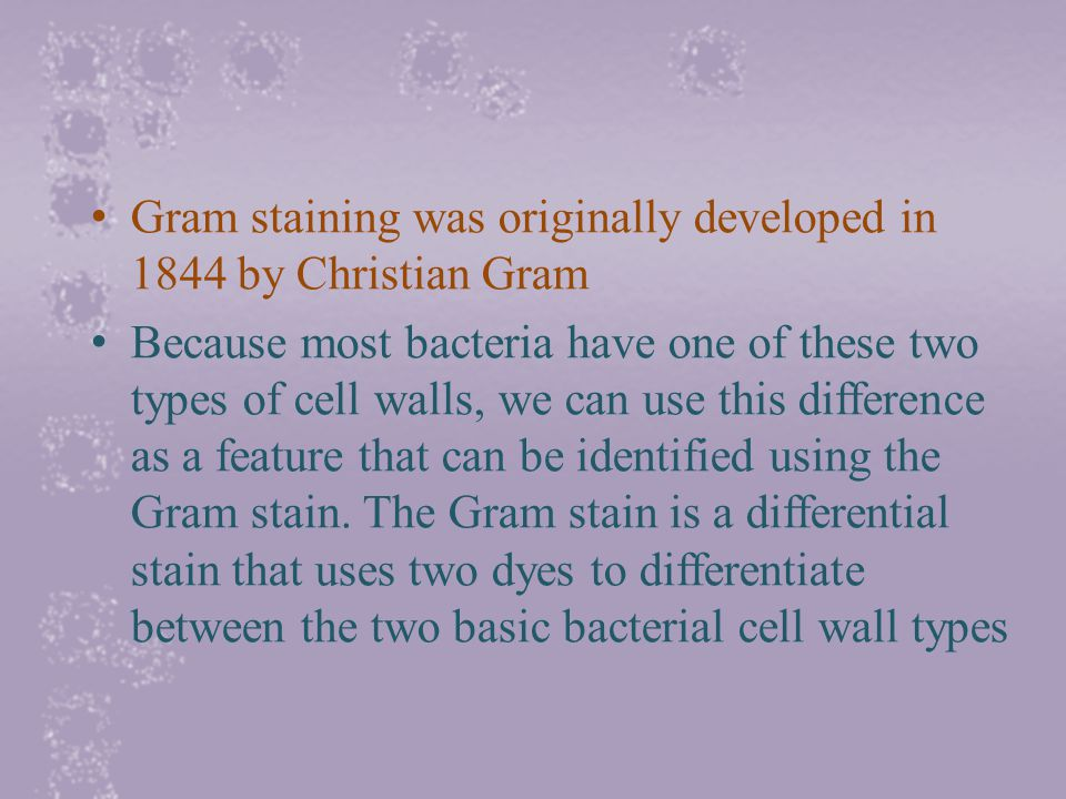 Gram staining was originally developed in 1844 by Christian Gram Because most bacteria have one of these two types of cell walls, we can use this difference as a feature that can be identified using the Gram stain.