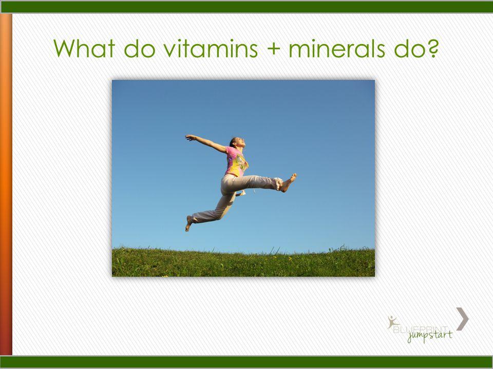 What do vitamins + minerals do?