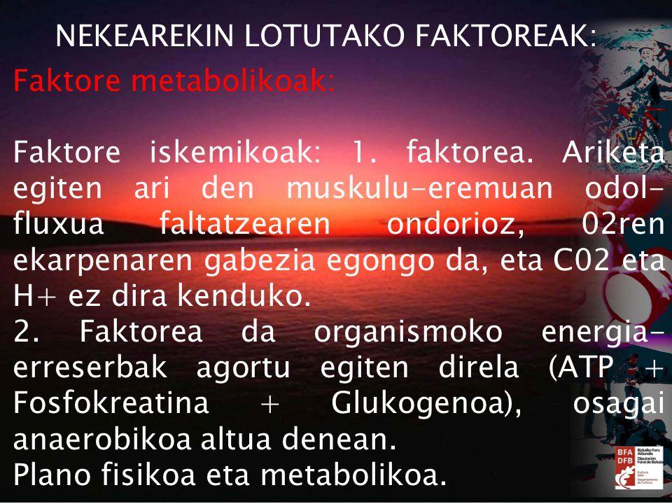 NEKEAREKIN LOTUTAKO FAKTOREAK: Faktore metabolikoak: Faktore iskemikoak: 1.