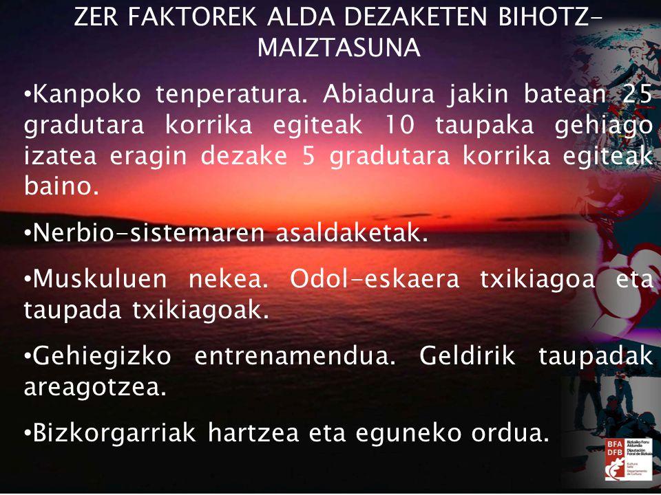 ZER FAKTOREK ALDA DEZAKETEN BIHOTZ- MAIZTASUNA Kanpoko tenperatura.