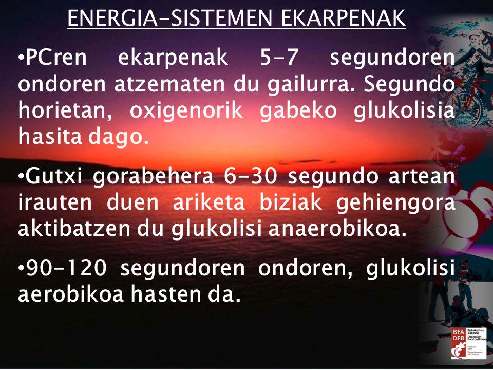 ENERGIA-SISTEMEN EKARPENAK PCren ekarpenak 5-7 segundoren ondoren atzematen du gailurra.
