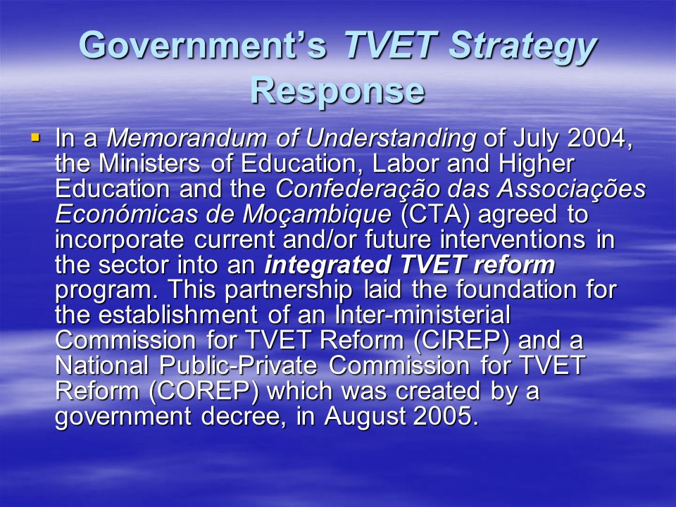 Government's TVET Strategy Response  In a Memorandum of Understanding of July 2004, the Ministers of Education, Labor and Higher Education and the Co