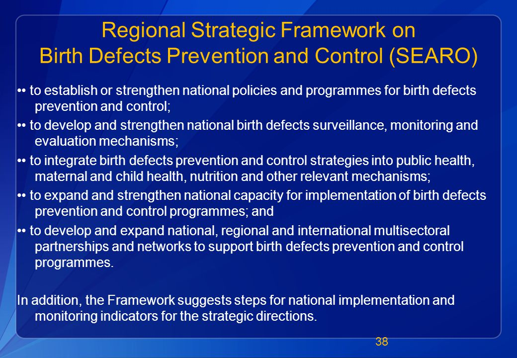 Regional Strategic Framework on Birth Defects Prevention and Control (SEARO) to establish or strengthen national policies and programmes for birth defects prevention and control; to develop and strengthen national birth defects surveillance, monitoring and evaluation mechanisms; to integrate birth defects prevention and control strategies into public health, maternal and child health, nutrition and other relevant mechanisms; to expand and strengthen national capacity for implementation of birth defects prevention and control programmes; and to develop and expand national, regional and international multisectoral partnerships and networks to support birth defects prevention and control programmes.