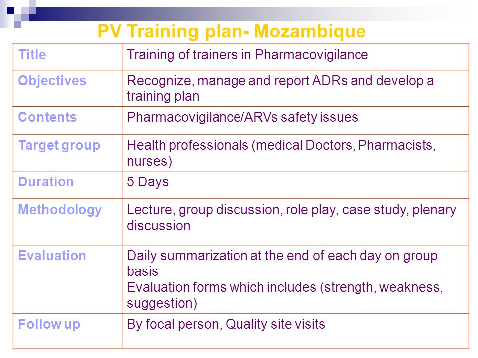 PV Training plan- Mozambique TitleTraining of trainers in Pharmacovigilance ObjectivesRecognize, manage and report ADRs and develop a training plan ContentsPharmacovigilance/ARVs safety issues Target groupHealth professionals (medical Doctors, Pharmacists, nurses) Duration5 Days MethodologyLecture, group discussion, role play, case study, plenary discussion EvaluationDaily summarization at the end of each day on group basis Evaluation forms which includes (strength, weakness, suggestion) Follow upBy focal person, Quality site visits