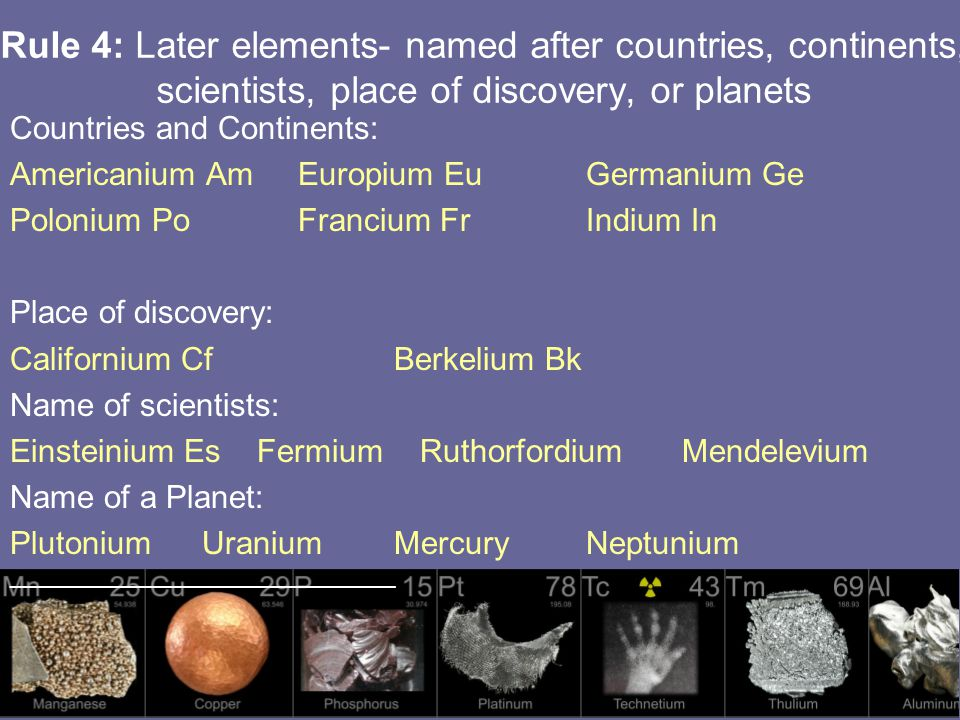 Rule 4: Later elements- named after countries, continents, scientists, place of discovery, or planets Countries and Continents: Americanium AmEuropium EuGermanium Ge Polonium PoFrancium FrIndium In Place of discovery: Californium CfBerkelium Bk Name of scientists: Einsteinium Es Fermium Ruthorfordium Mendelevium Name of a Planet: PlutoniumUraniumMercuryNeptunium _____________________________________