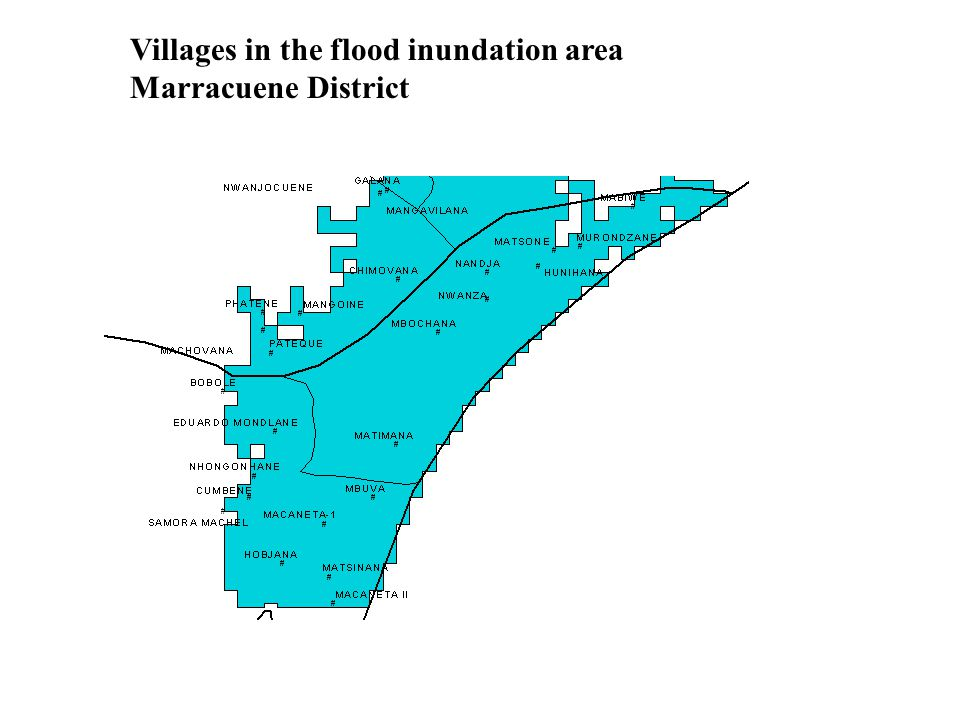 Villages in the flood inundation area Marracuene District