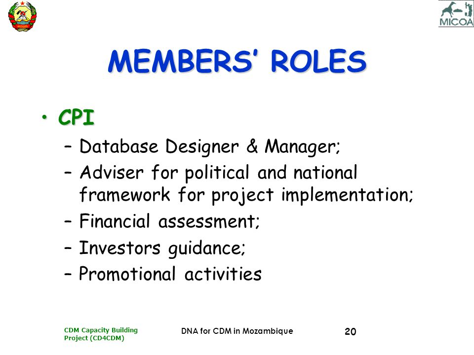 CDM Capacity Building Project (CD4CDM) DNA for CDM in Mozambique 20 MEMBERS' ROLES CPICPI –Database Designer & Manager; –Adviser for political and nat