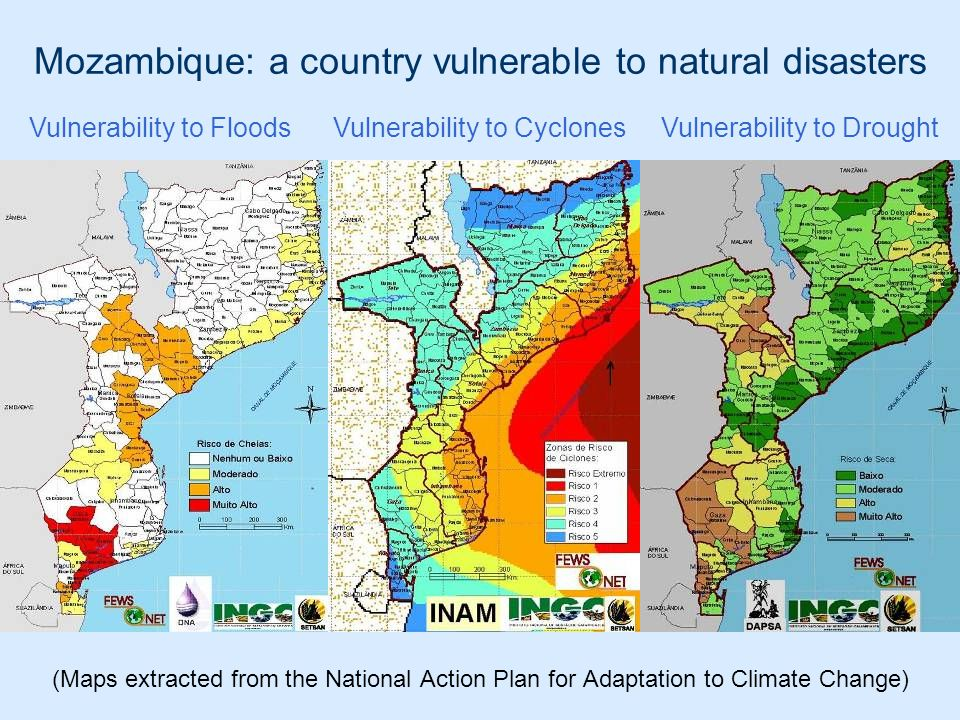 Mozambique: a country vulnerable to natural disasters (Maps extracted from the National Action Plan for Adaptation to Climate Change) Vulnerability to