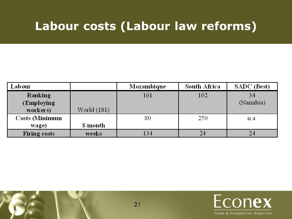 Labour costs (Labour law reforms) 21