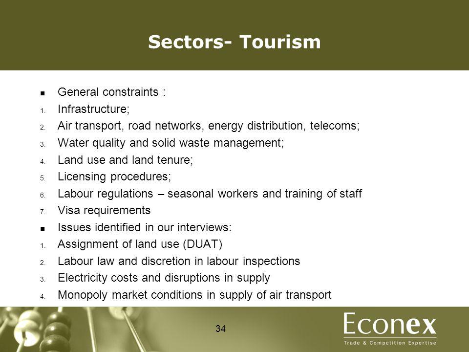 Sectors- Tourism General constraints : 1. Infrastructure; 2.