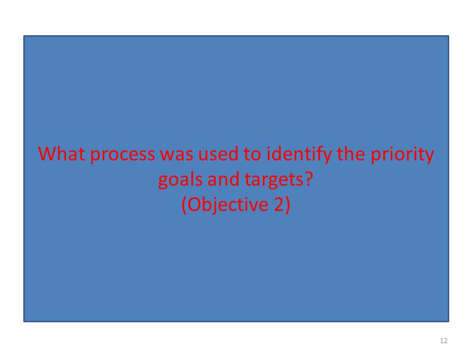 What process was used to identify the priority goals and targets? (Objective 2) 12
