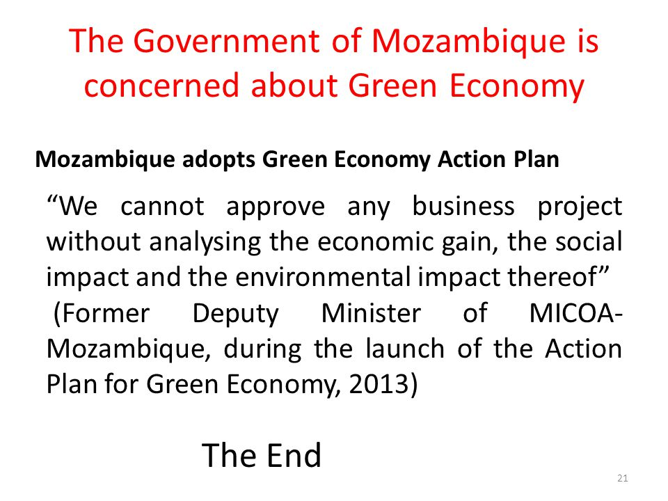"The Government of Mozambique is concerned about Green Economy 21 ""We cannot approve any business project without analysing the economic gain, the soci"