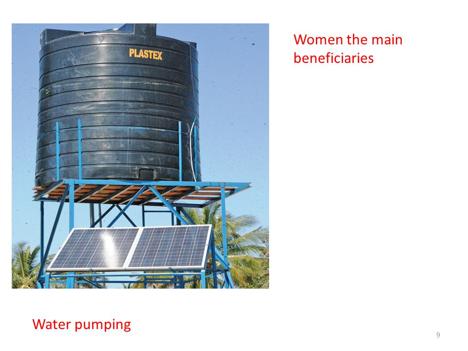 Women the main beneficiaries Water pumping 9