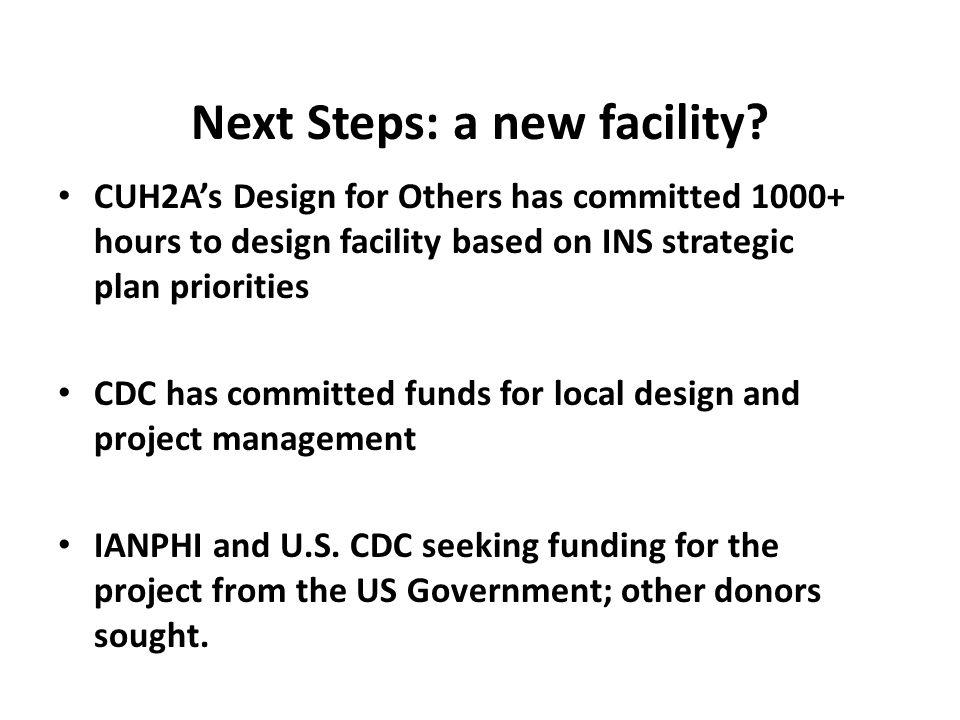 Next Steps: a new facility.