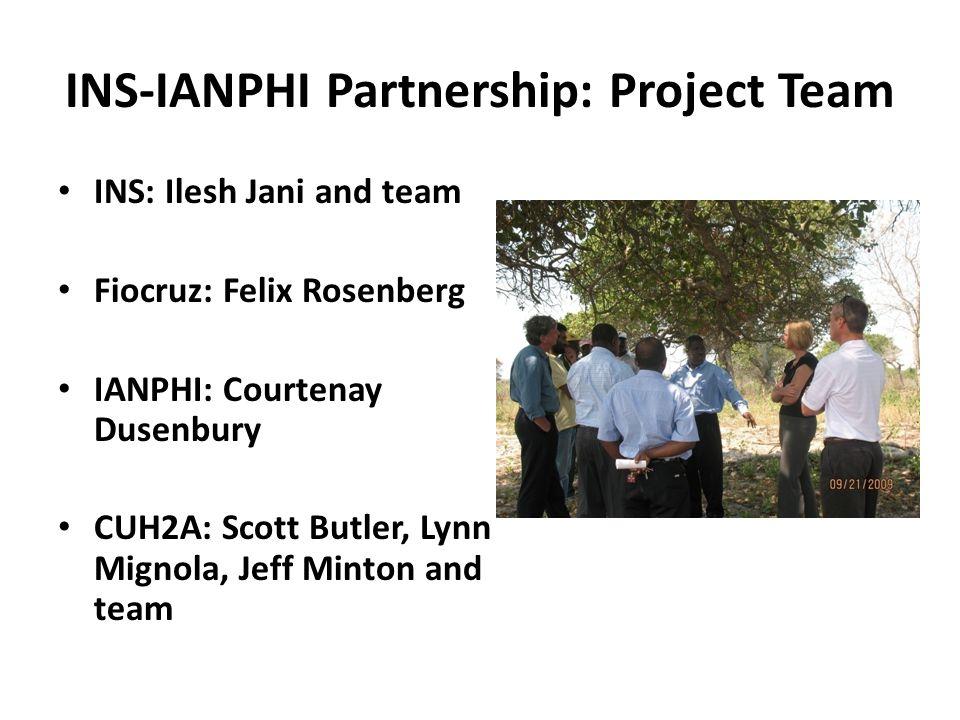 INS-IANPHI Partnership: Project Team INS: Ilesh Jani and team Fiocruz: Felix Rosenberg IANPHI: Courtenay Dusenbury CUH2A: Scott Butler, Lynn Mignola,