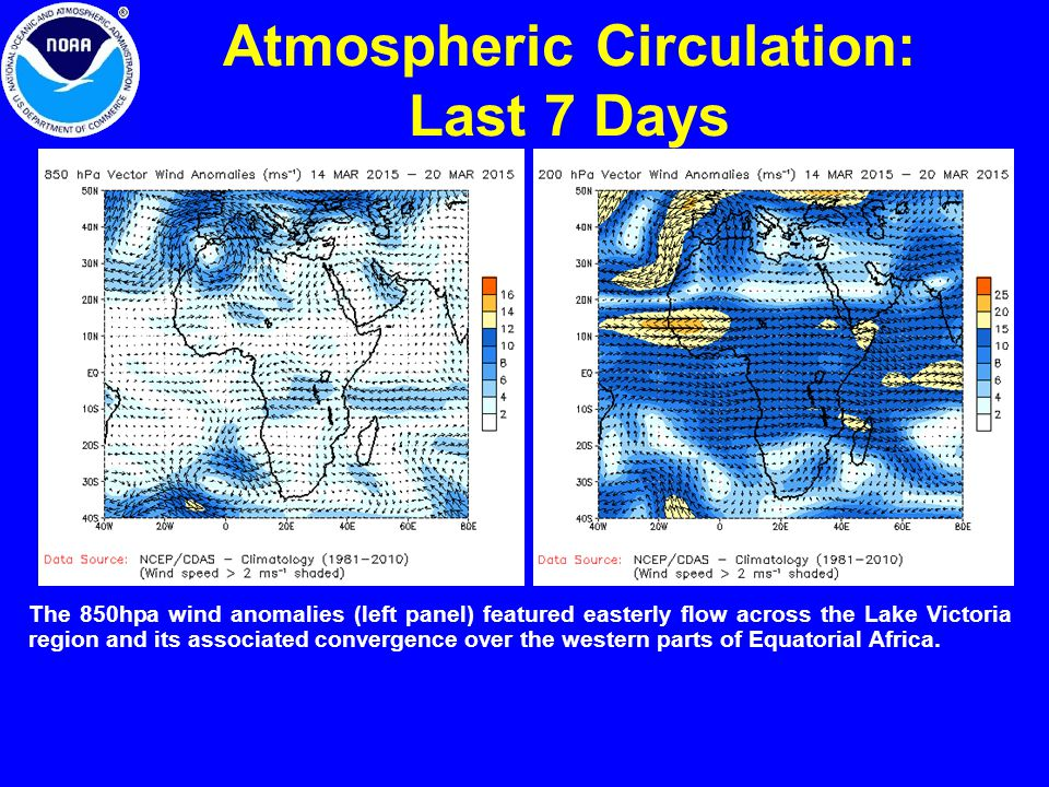 Atmospheric Circulation: Last 7 Days The 850hpa wind anomalies (left panel) featured easterly flow across the Lake Victoria region and its associated convergence over the western parts of Equatorial Africa.
