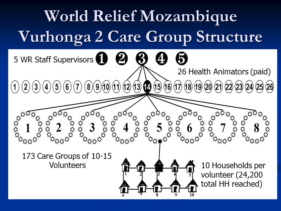 World Relief Mozambique Vurhonga 2 Care Group Structure 26 Health Animators (paid) 173 Care Groups of 10-15 Volunteers 10 Households per volunteer (24,200 total HH reached) 5 WR Staff Supervisors