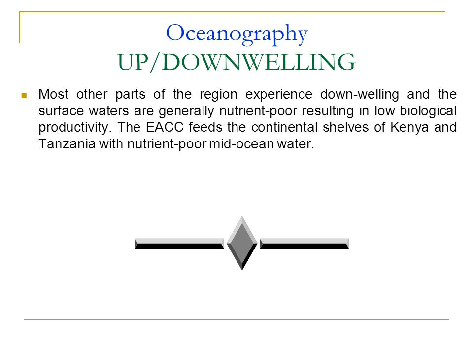 Oceanography UP/DOWNWELLING Most other parts of the region experience down-welling and the surface waters are generally nutrient-poor resulting in low biological productivity.