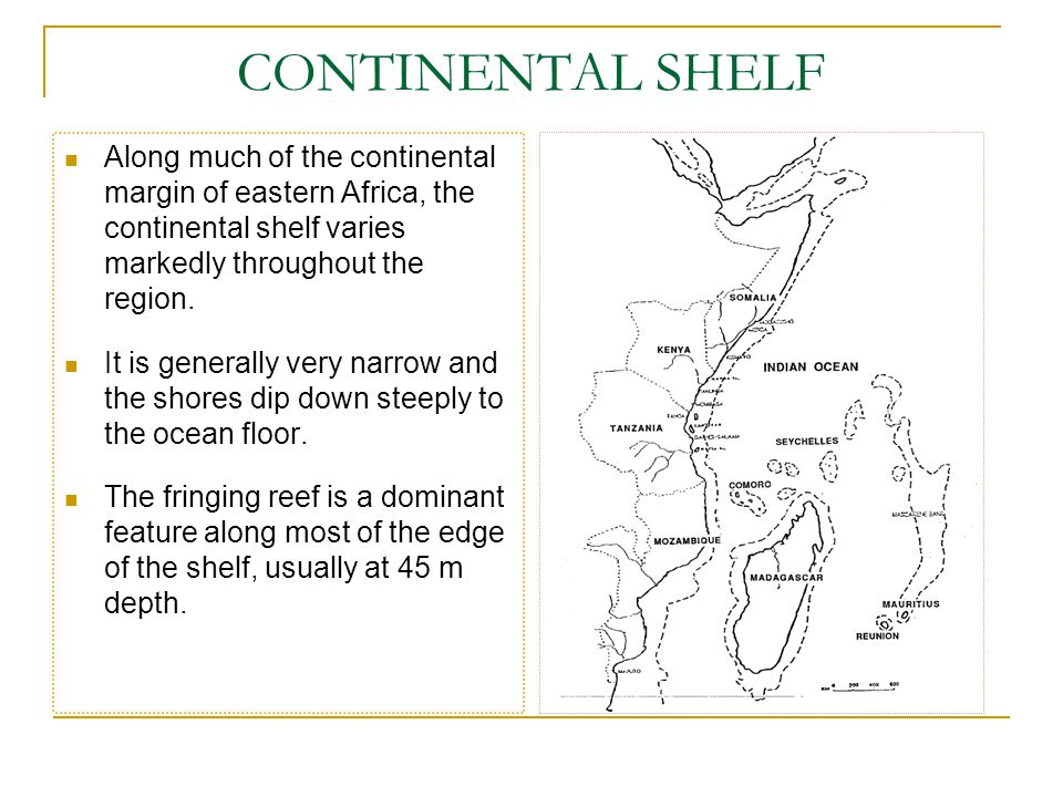 CONTINENTAL SHELF Along much of the continental margin of eastern Africa, the continental shelf varies markedly throughout the region.