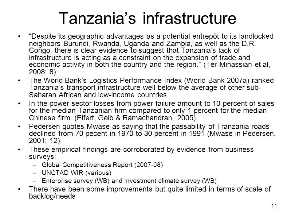 "11 Tanzania's infrastructure ""Despite its geographic advantages as a potential entrepôt to its landlocked neighbors Burundi, Rwanda, Uganda and Zambia"