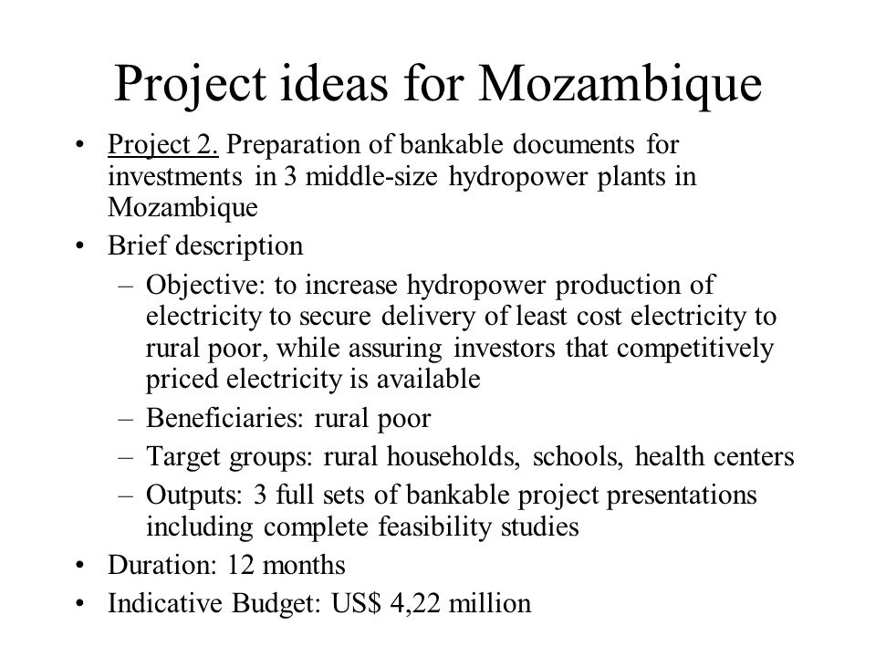 Project ideas for Mozambique Project 2.