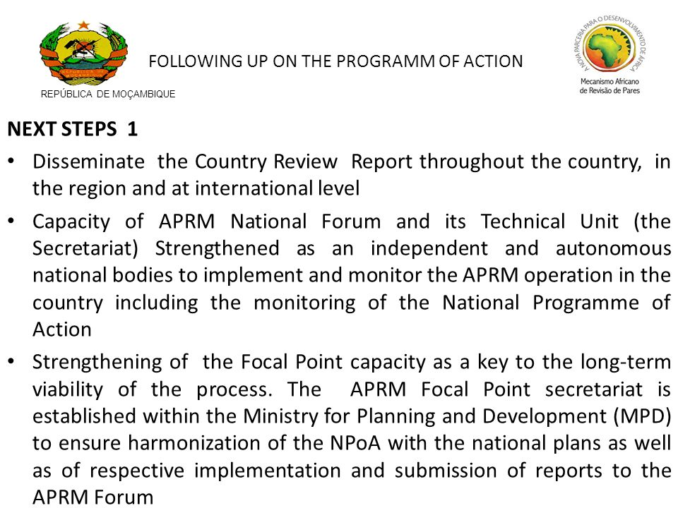NEXT STEPS 1 Disseminate the Country Review Report throughout the country, in the region and at international level Capacity of APRM National Forum an