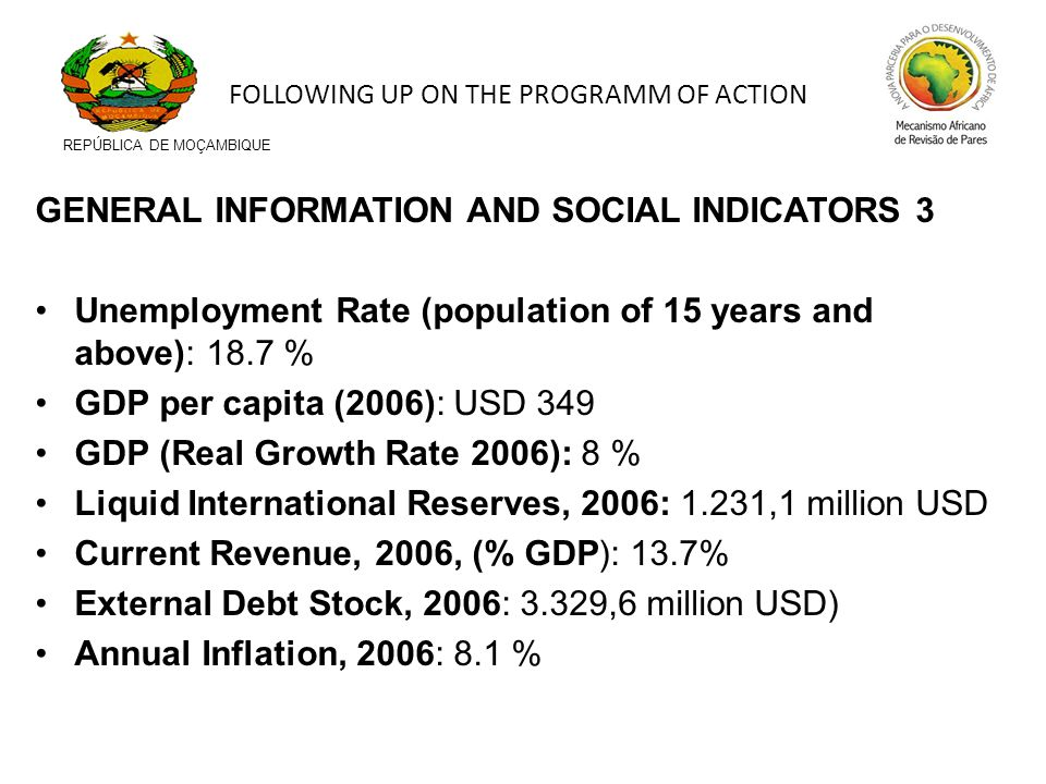 GENERAL INFORMATION AND SOCIAL INDICATORS 3 Unemployment Rate (population of 15 years and above): 18.7 % GDP per capita (2006): USD 349 GDP (Real Grow