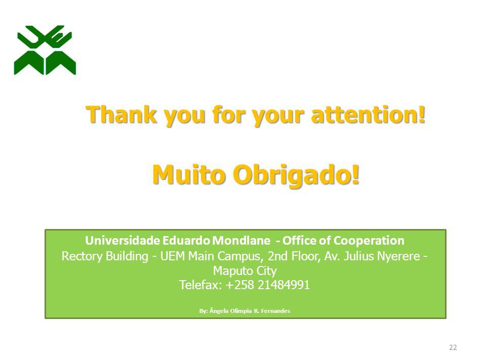 Thank you for your attention. Muito Obrigado.