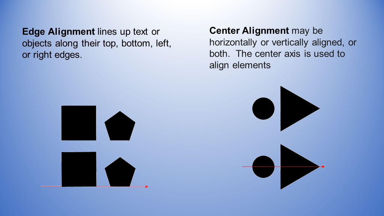 Edge Alignment lines up text or objects along their top, bottom, left, or right edges.