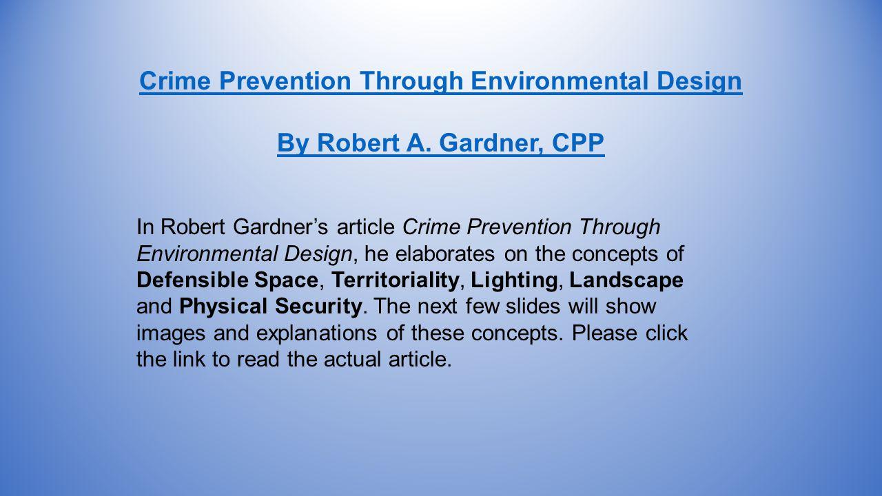 Crime Prevention Through Environmental Design By Robert A.
