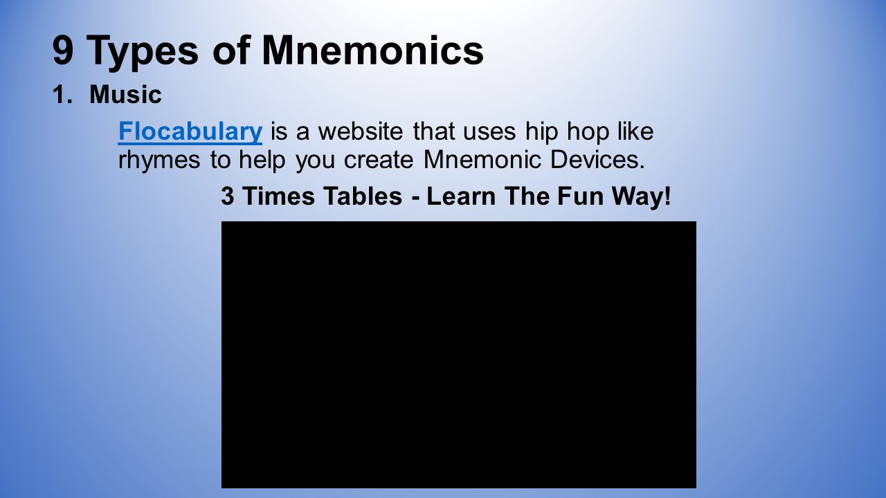 9 Types of Mnemonics 1.Music FlocabularyFlocabulary is a website that uses hip hop like rhymes to help you create Mnemonic Devices.