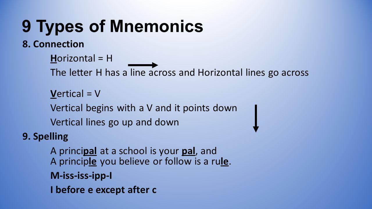 9 Types of Mnemonics 8.